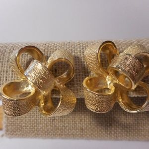 KJL Gold Tone Ribbon Bow Clip Earrings